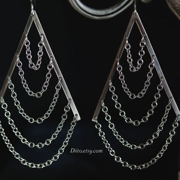 Sterling Silver, Teardrop Chain Earrings, Dangle Earrings, Drop Earrings, Sterling Silver jewelry, Statement Earrings, Ready to Ship!