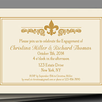 Gold Fleur De Lis Invitation Printable or Printed with FREE SHIPPING - Engagement Party, Shower, Rehearsal, Wedding, Anniversary, Birthday