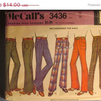 SALE Uncut 1970's McCall's Sewing Pattern 3436! Men's 32 Waist/Stretch Knit Pants/Jean Cut/Classic Cut/Flared/Straight Leg/Bell Bottoms