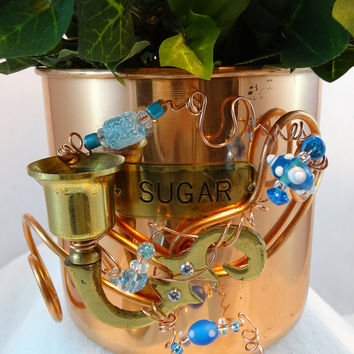 Whimsical Repurposed Copper Plated Sugar Canister Planter Tea Bag Candle Holder P-09