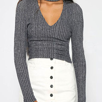 Grey Ribbed V-Neck Halter Knit Sweater
