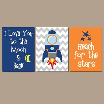I Love You to the Moon & Back, Rocket Space Wall Art, CANVAS or Print Boy Nursery Decor, SPACE Theme, Set of 3, Boy Bedroom Wall Decor
