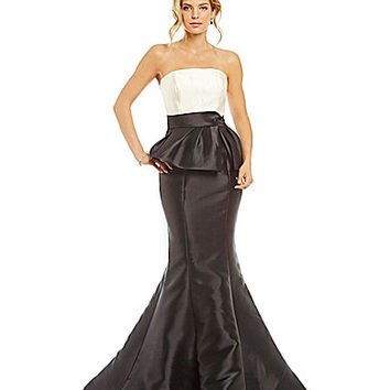 Mac Duggal Strapless Peplum Mermaid Gown | Dillards.com