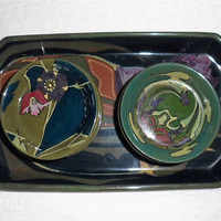 Rare Antique Gouda Pottery Set of 8 glossy Art Nouveau Pads with a Matching Tray/1900s  Plateelbakkerij Zuid-Holland (PZH)/Made early 1900s
