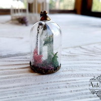 Phantom Quartz Crystal terrarium necklace, Glass dome,statement necklace,Glass bubble,orb moss pendant,Gems jewelry,Botanic jewelry,Nature