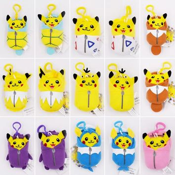 15Styles/Set 10cm Pikachu Cosplay Eevee Jolteon Magikarp Togepi Squirtle Gengar Ditto Psyduck Keychain Keyring Pendant Plush Toy