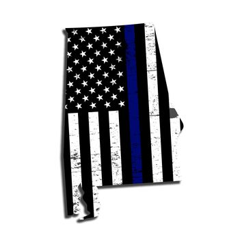 Alabama Distressed Subdued US Flag Thin Blue Line/Thin Red Line/Thin Green Line Sticker. Support Police/Firefighters/Military