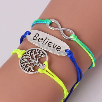 Inspirational Believe Infinity Sign Tree of Life Bracelet