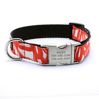 Designer Dog Collar With Personalized Buckle - Ricky