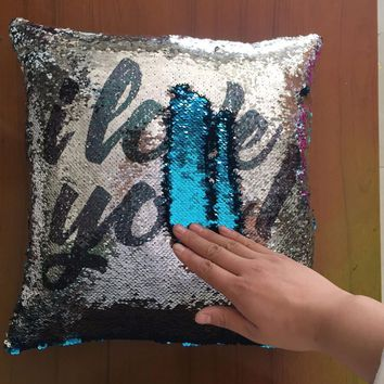 2018 Reversible Mermaid Sequin Throw Pillow DIY Glitter Cushion Cover Sofa Home Christmas New Year Decorative Cojines Pillowcase