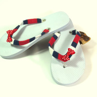 Patriotic Flip Flops - Red White Blue Summer Sandals - Yoga Flip Flops - Designer Flip Flop Sandal - Beach Thong Sandal