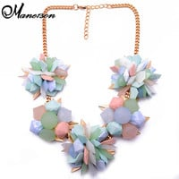 Spring New Flower Color Women Chunky Choker Resin Candy Color ZA Vintage Luxury Necklace Good Statement Jewelry8470