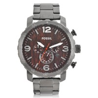 Fossil Designer Men's Watches Nate Smoke Stainless Steel Chronograph Watch