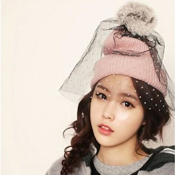 Retro Princess Hat Women's Winter Knitting Mesh hats Beanies face veil net yarn Cap Skullies Knitted Hat for Girls gorros female