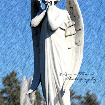Angel Photography, Religious Art, Cemetary Art, Abstract Photography, Cemetary Headstone, 8 x 12