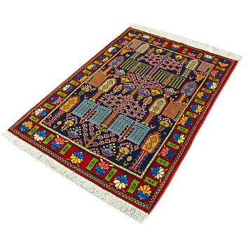 Oriental Bakhtiari Persian Pure Wool Tribal Rug, Green/Red