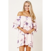 Could Be Forever Pink Off The Shoulder Floral Print Dress
