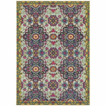 Oriental Weavers Bohemian Blue Yellow Border Medallion Casual Rug
