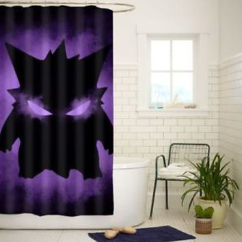 Pokemon Gengar High Quality Custom Shower Curtain Size 60x72 and 66x72
