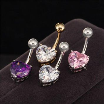 ac DCCKO2Q Body Piercing Jewelry Gold / White Gold Color  Heart Zircon Cubic Bar Ball Navel Belly Button Ring