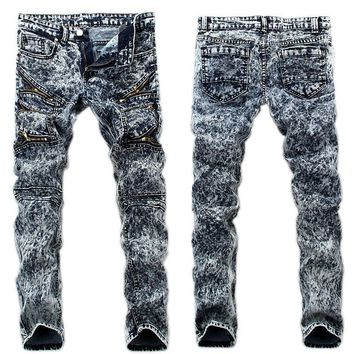 2017New Arrival  Jeans Men Ripped Skinny Biker Jeans Destroyed Frayed Slim Snow Denim Pants Trousers