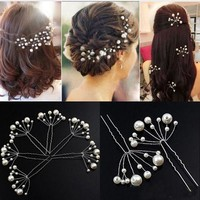 ONETOW 5PcsWomen Flower Crystal Hair Clips Popular Wedding Bridal Pearl Rhinestone Hair Pins Bridesmaid Clips Hairwear Hair Accessories