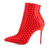 Black and Red Studded Ankle Boots