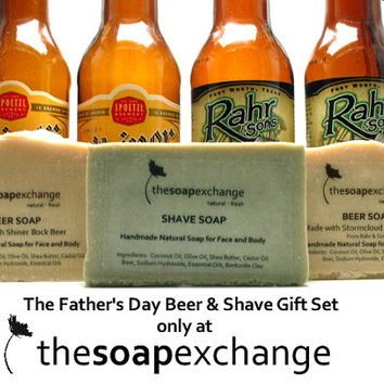 Father's Day Gift Set, Beer & Shave Soap, Natural, Handmade, Fragrance Free, Unscented, Men's Gifts, Gifts for Him, Dad, The Soap Exchange