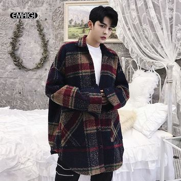 Trendy Men Wool Shirt Coat High Streetwear Fashion Hip Hop Casual Loose Plaid Shirt Jacket Outerwear Male AT_94_13