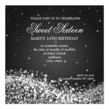 Sweet Sixteen Party Sparkling Wave Black Invites from Zazzle.com