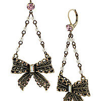 VINTAGE PEARL LACE BOW DROP EARRING