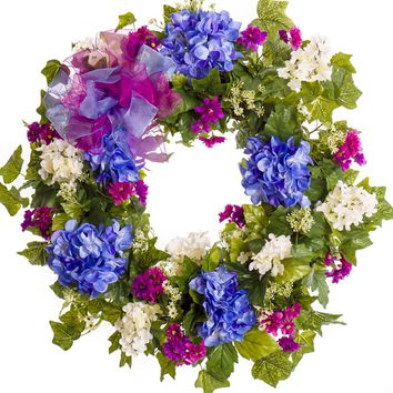 Blue and White Hydrangea Everyday Wreath with Ribbon (SW024)