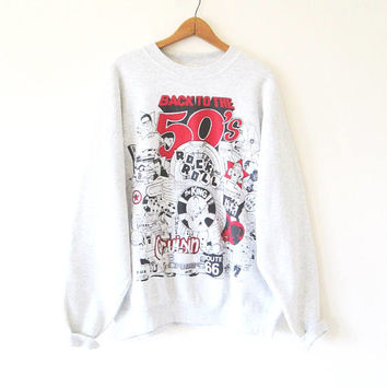 Vintage Back to the 50s Elvis Buddy Holly James Dean Route 66 Marilyn Monroe Sweatshirt Sz XXL