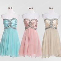 2014 Beads Light Mint/Pink/Yellow Sweetheart Strapless Backless A-Line Short Ruffled Bridesmaid Dress,Mini Chiffon Evening Party Prom Dress