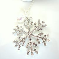 Rhinestone snowflake necklace with Swarovski tear drop sterling silver necklace