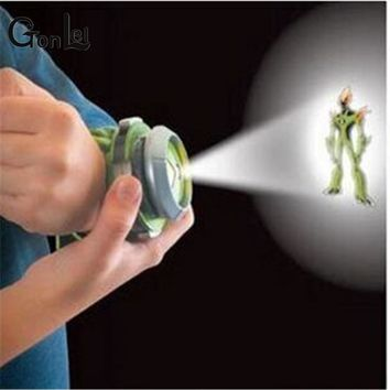 GonLeI 2015 Hot Selling Ben 10 Style Japan Projector Watch BAN DAI Genuine Toys for Kids Children Slide Show Watchband Drop