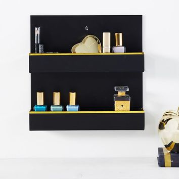 Paper Wall Beauty Organizer, Gold Trim