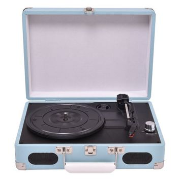 Costway Vintage Vinyl Record Player 3-Speed Turntable Stereo RCA MP3 Portable Suitcase - Walmart.com