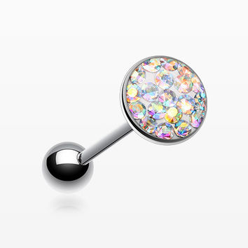 Multi-Gem Sparkle Barbell Tongue Ring