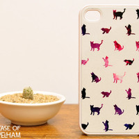 iPhone 4 Case - Galaxy Cat iPhone 4 Case - Cat iPhone Case over Galaxy Print - Plastic iPhone 4 Case - Gifts for Her