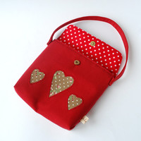 Red Heart Girls Handbag-Toddler bag-Girls Festive bag-Christmas outfit accessories- Christmas gift