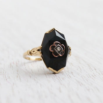 Antique 14K Yellow Gold Onyx & Diamond Ring - Size 4 Edwardian Faceted Black Stone Fine Jewelry / Rose Gold Flower