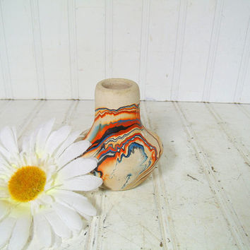 Vintage Nemadji Pottery Petite Flower Vase - Retro Mid Century Colorful Ceramic Vessel - Native American Indian Head Iconic Primitive Art