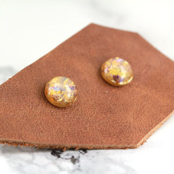 fake plugs, opal stud earrings, sterling silver plated, yellow, amethyst, bohemian, boho chic
