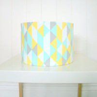 Geometric fabric lampshade drum - table lamp or floor lamp, mint green, yellow, grey