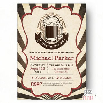 Cheers to 30 Years Birthday Invitation - Cheers and Beers to 30 Years Birthday Invitation (Printable) 30 Birthday Invitation for Him - Male