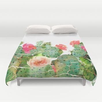 scratched cactus Duvet Cover by clemm