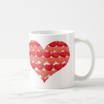 Candy Hearts In A Row, Heart Shaped Coffee Mug