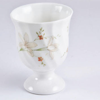 Wedgwood Campion Egg Cup - Bone China - Delicate Floral Swirled Edge - Discontinued - Vintage Cottage England