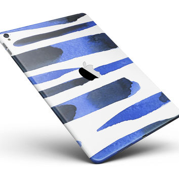 """Watercolor Strokes of Blue on Black Full Body Skin for the iPad Pro (12.9"""" or 9.7"""" available)"""